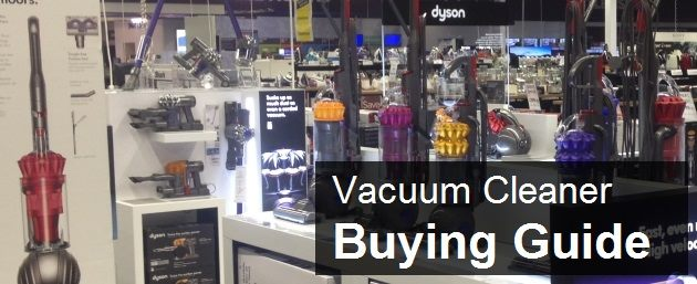 Picture of vacuum cleaners for sale in a superstore
