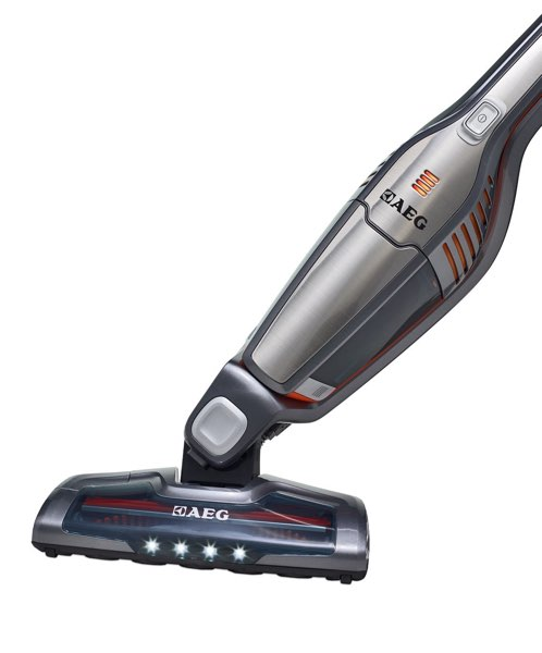 picture of an aeg stick vacuum showing it being steered