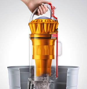 Picture of a dyson vacuum being emptied
