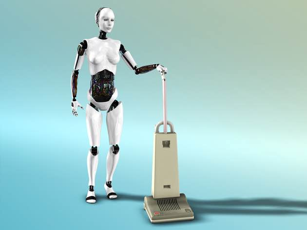 Picture of a female robot using a vacuum cleaner